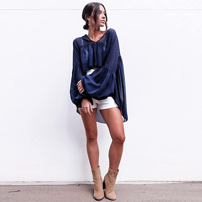Amazon.com: Women Navy Chiffon Long Sleeve V Neck Blouse T-shirt ...