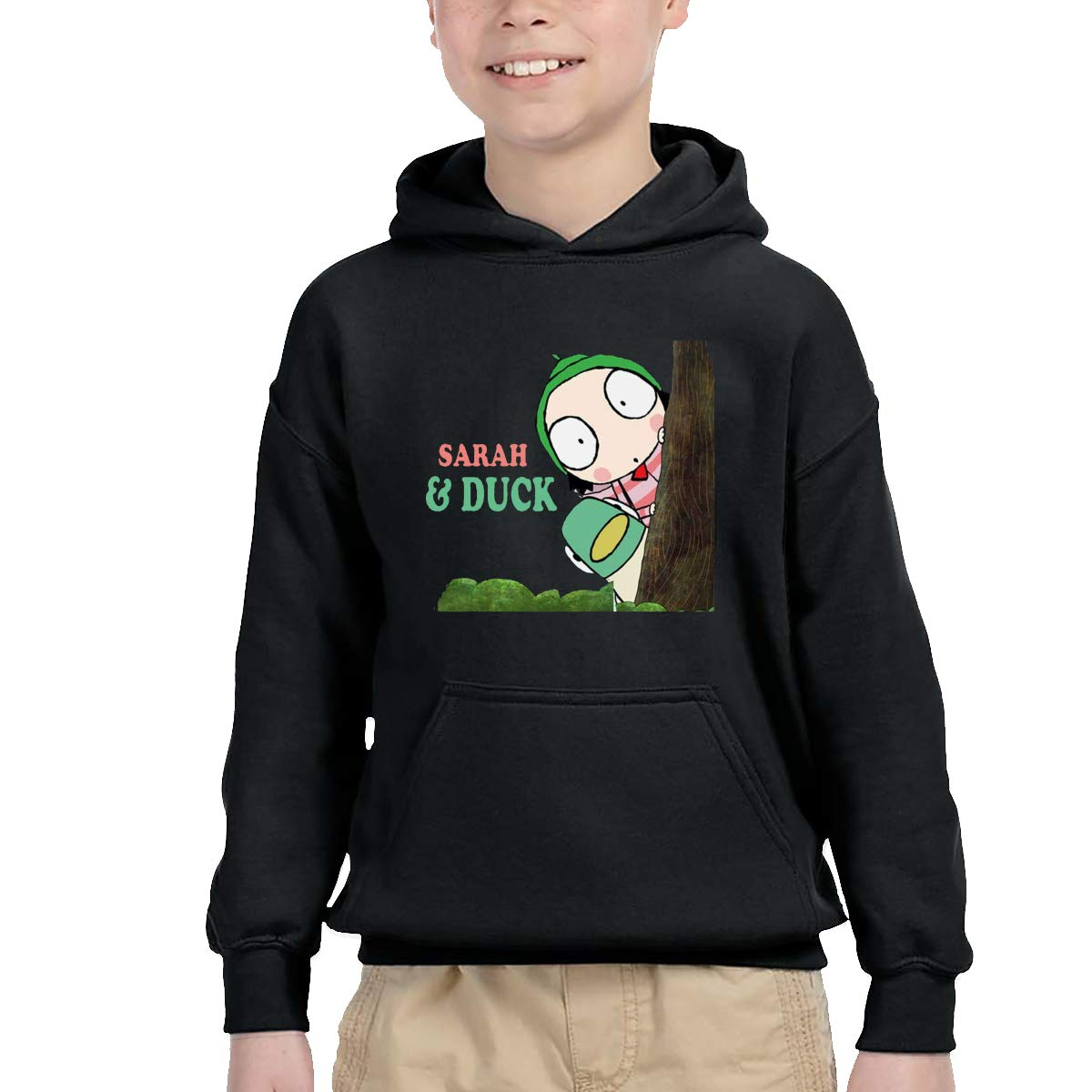 2-6 Year Old Childrens Hooded Pocket Sweater Original Retro Literary Design Sarah /& Duck Logo Black