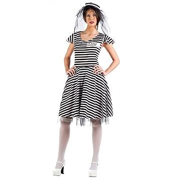 Kostüm Sträflingsbraut Gr. L Braut Beute Kleid Hut schwarz-weiß ...