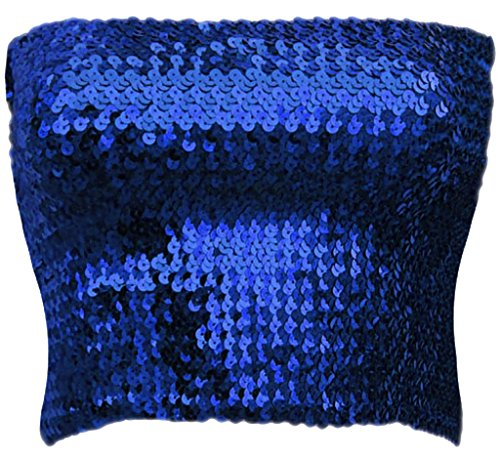 Blue Sequin - Alivila.Y Fashion Womens Sparkling Sequins Party Tube Top A11-Royal Blue