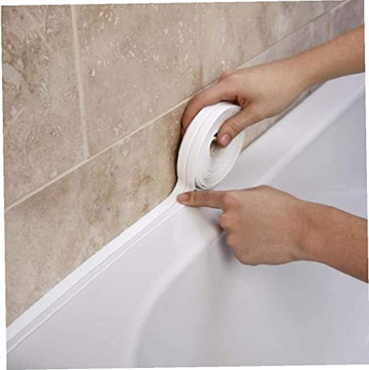 Amoyer 3.2mx38mm ba/ño Ducha Fregadero del ba/ño de Sellado de Cinta de la Cinta de PVC Blanco Auto Adhesivo Impermeable Etiqueta de la Pared para ba/ño Cocina