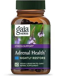 Gaia Herbs Adrenal Health Nightly Restore, Calming Sleep and Stress Support, Ashwagandha, Reishi, Cordyceps, Lemon Balm...