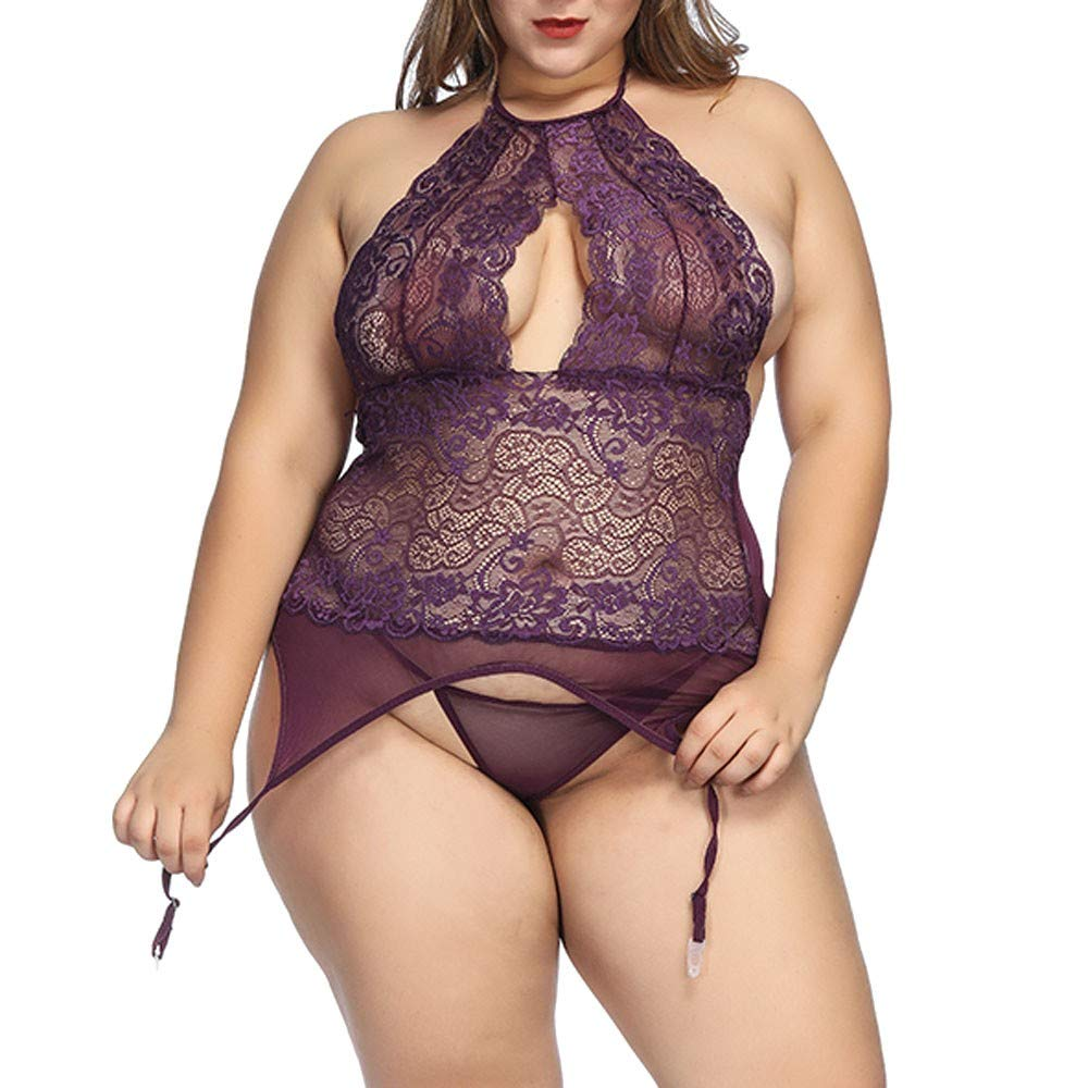 Women's Halter Plus Size Sexy Lace Lingerie See Through Mesh Babydoll Bodysuit Sheer G-String Panty(Purple,Medium)