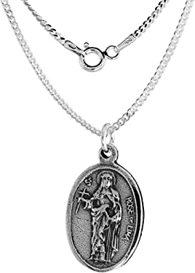 Sterling Silver St Rose of Lima Medal Necklace Oval 1.8mm Chain