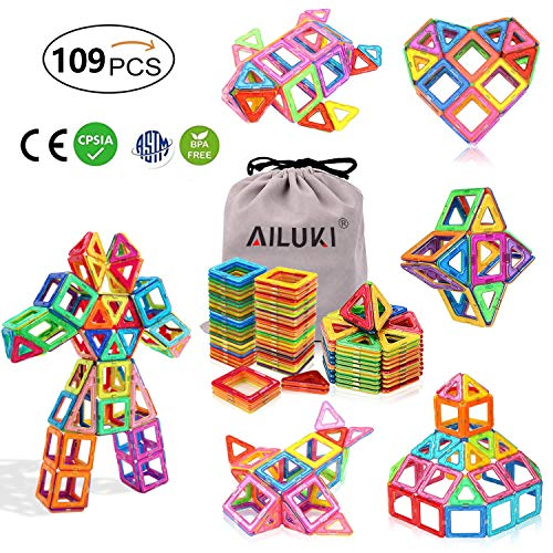 AILUKI Magnetic Blocks, 109 PCS Magnetic Building Blocks Set Strong Magnetic Tiles Stacking Blocks for Children Educational and Creative Imagination Development