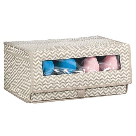 mDesign Caja para zapatos de tela (grande) – Cajas apilables con ventana, cierre