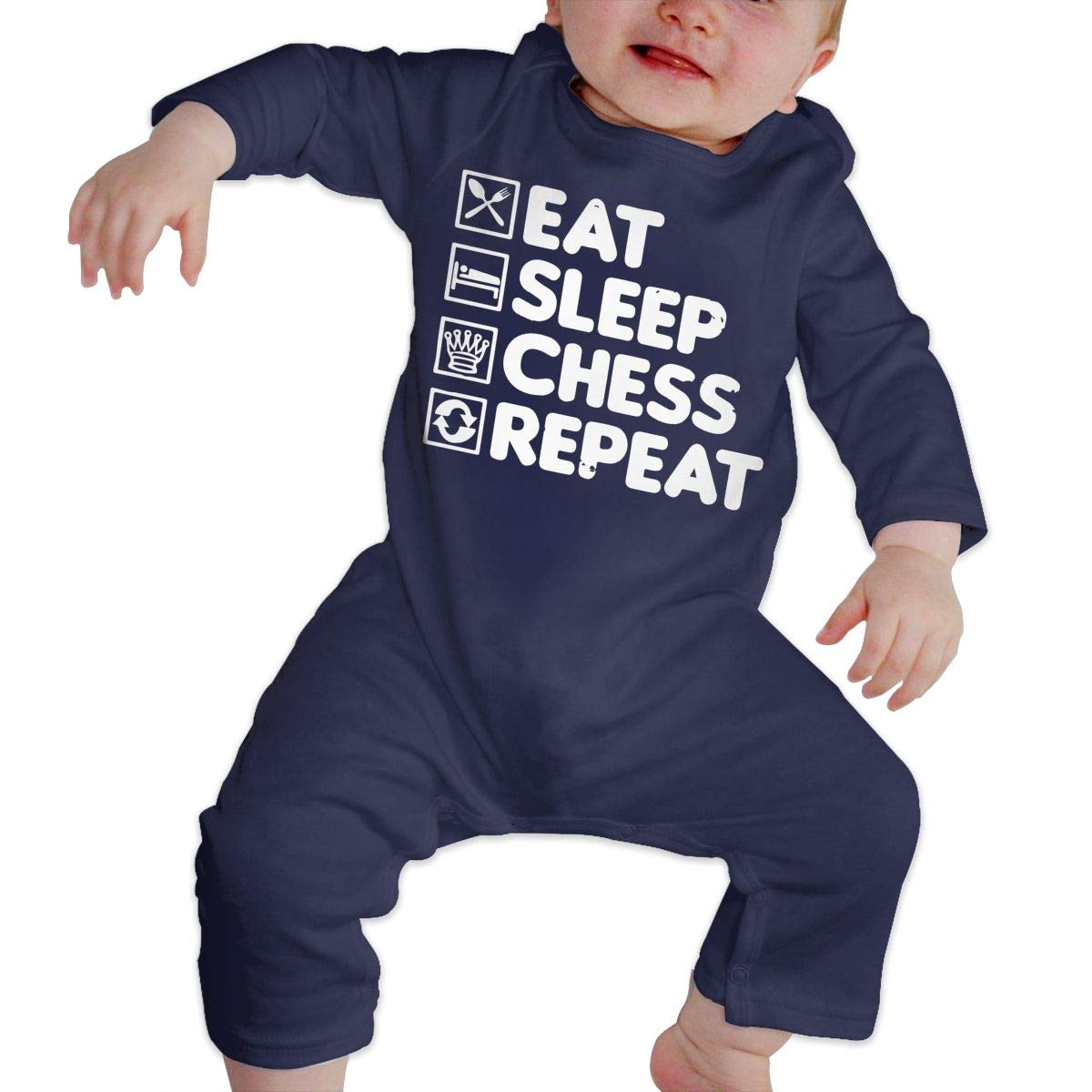 LBJQ8 Eat Sleep Repeat Chess Unisex Baby Long Sleeve Romper Jumpsuit Bodysuit