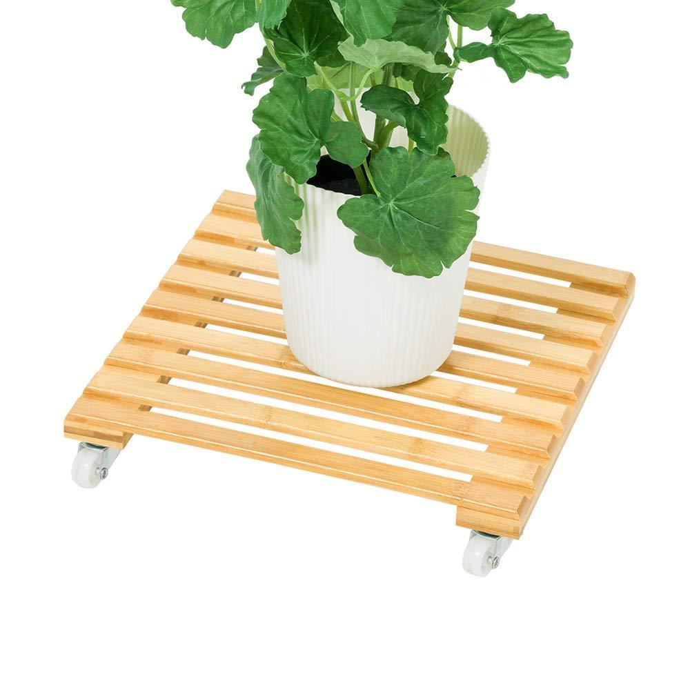 YXBHJ BYNN Mobile Flower Stand, Flower Shelf Flower Pot Base Move Pulley Interni in Legno Mobile Living Room Balcony Wood (Dimensioni   M)