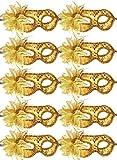 10pcs Set Mardi Gras Half Masquerades Venetian Masks Costumes Party Accessory (gold-10pc)