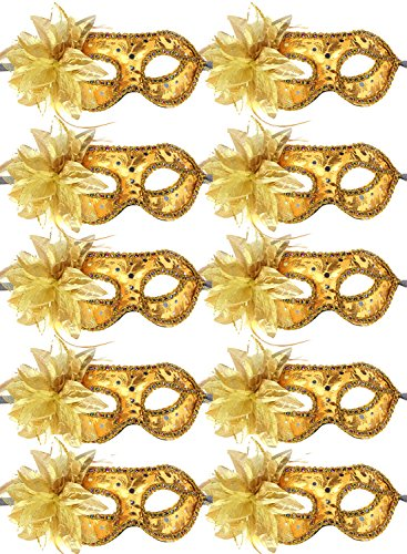 10pcs Set Mardi Gras Half Masquerades Venetian Masks Costumes Party Accessory (gold-10pc)