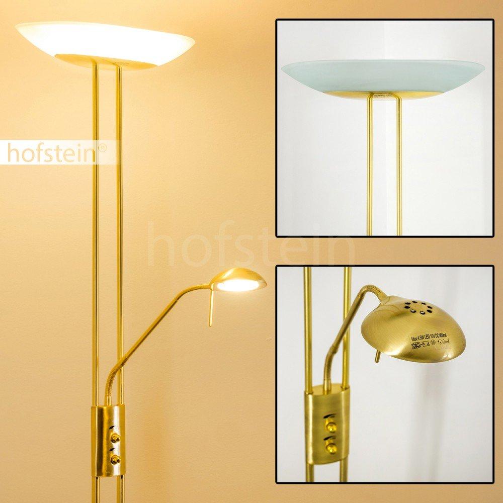 Teinte de lumi/ère blanc chaud Lampadaire de salon finition laiton avec vasque en verre ovale Luminaire LED Lucca dot/é de deux variateurs dintensit/é ind/épendants