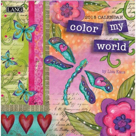 "LANG - 2018 Mini Wall Calendar - ""Color My World"", Artwork by Lisa Kaus- 12 Month - Open Size  7"" x 14"""