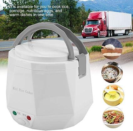 Fiambrera eléctrica multifuncional portátil de 1.6 L Ollas eléctricas con olla interna antiadherente para uso en camiones, 24V 140W(White): Amazon.es: Hogar