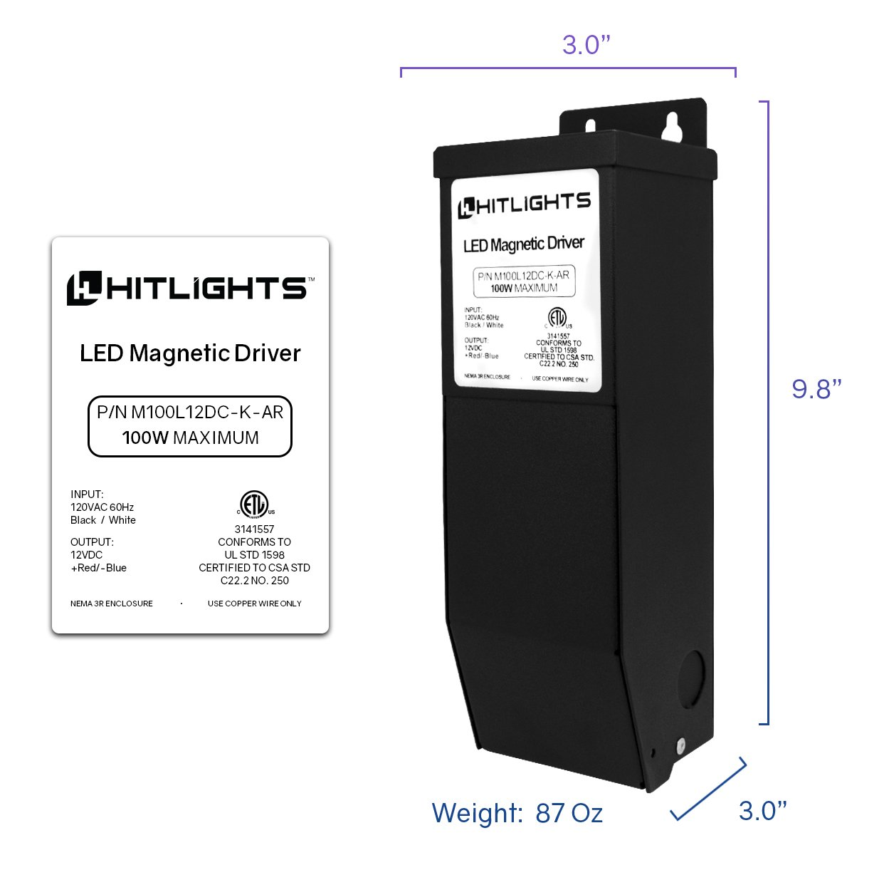 HitLights 100 Watt Dimmable Driver, Magnetic LED Driver - 110V AC-12V DC Transformer. Made in the USA. Compatible with Lutron and Leviton for LED Strip Lights, Constant Voltage LED by HitLights (Image #2)