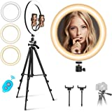 "12"" Selfie Ring Light with Dimmable Tripod Stand & Two Phone Holders,Mountdog 3 Modes 11 Brightness Levels Bluetooth Remote Control for YouTube Photography Compatible with iPhone and Android Phone"