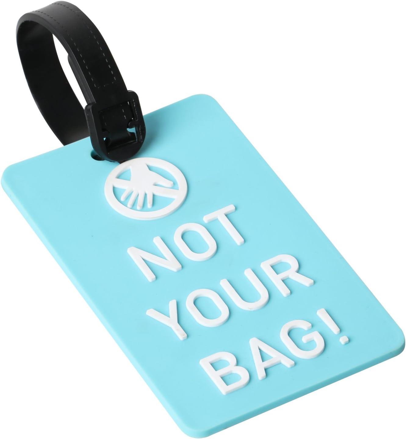 TRIXES Etiqueta para Equipaje Not Your Bag! Etiqueta Identificadora - Azul y Blanca