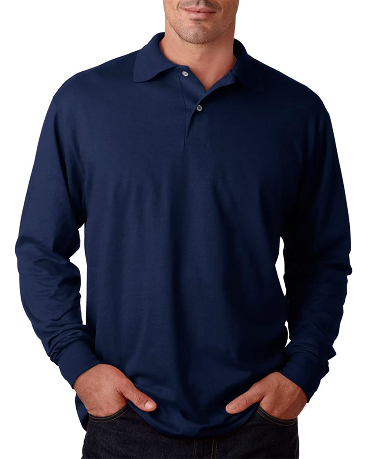 Jerzees Adult Long-Sleeve Jersey Polo with SpotShield - J Navy - S