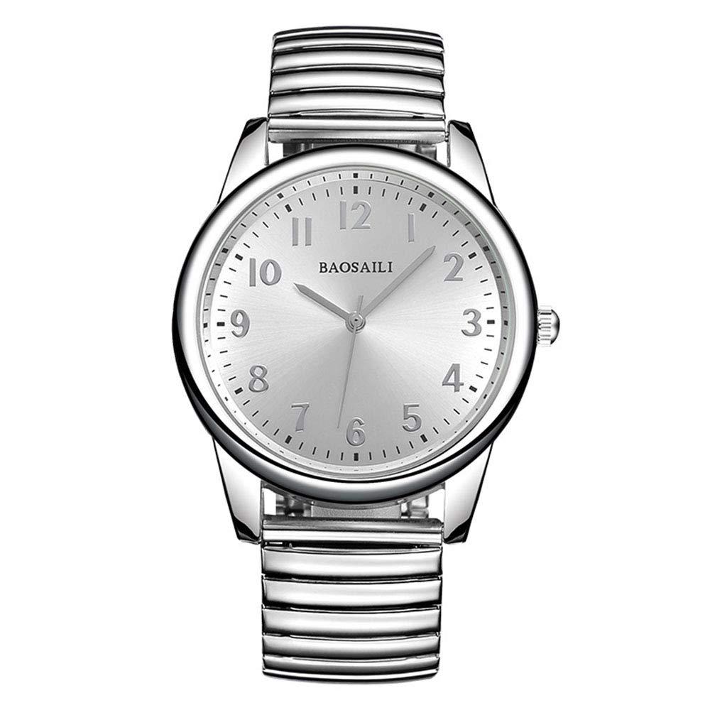 Relojes de Correa elástica de Plata del Resorte, Escala de Números Arábigos Relojes de Pulsera Casual