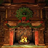 GladsBuy Symmetrical Fireplace 8' x 8' Computer Printed Photography Backdrop Christmas Theme Background XLX-177