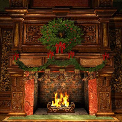 GladsBuy Symmetrical Fireplace 8' x 8' Computer Printed Photography Backdrop Christmas Theme Background XLX-177 ()