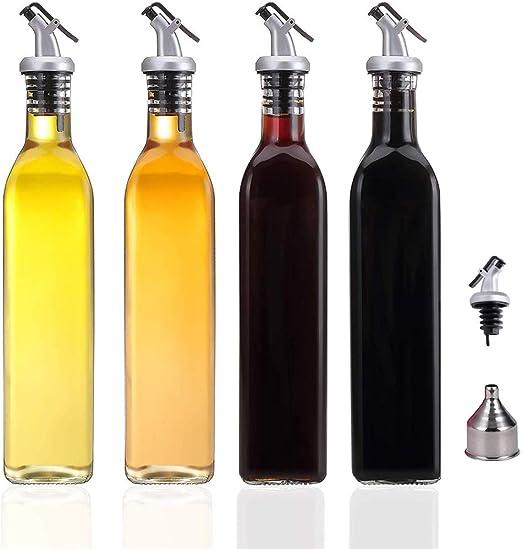 Juego de botellas dispensadoras de vinagre y salsa de acero inoxidable con embudo