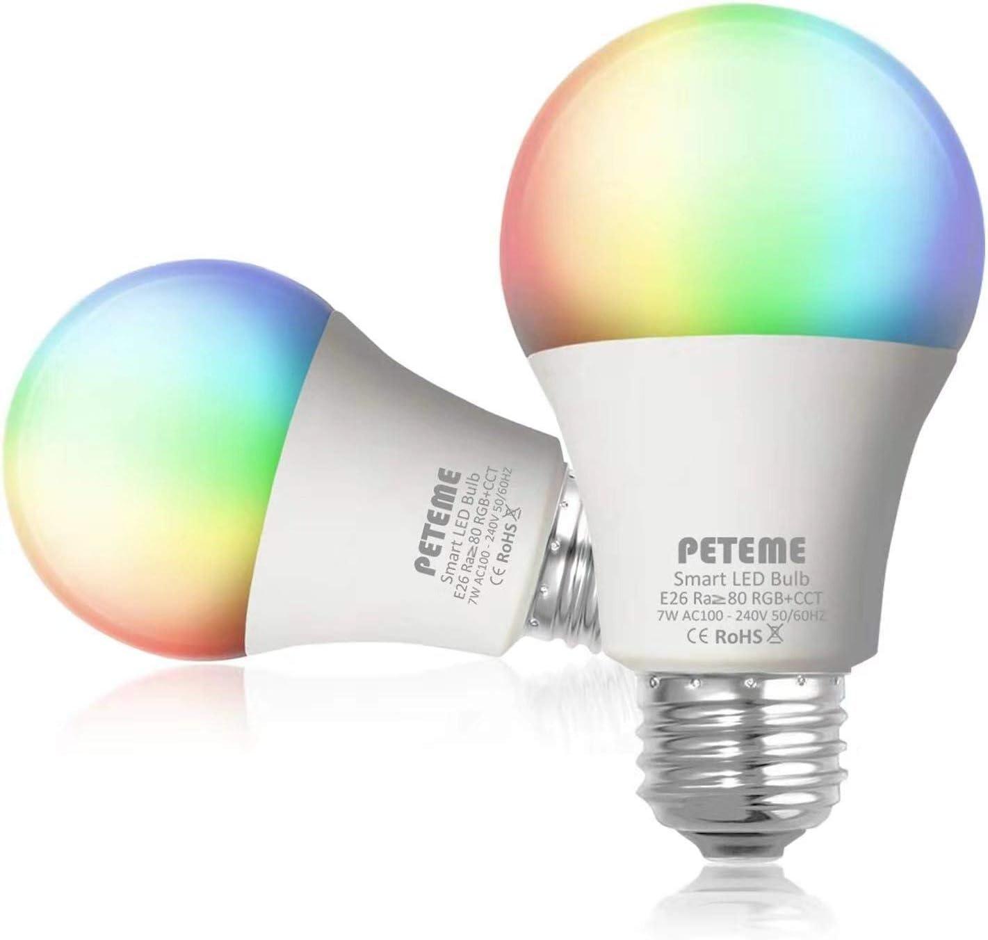 Peteme Smart Alexa Light Bulb 2.4G not 5G E26 Multicolor WiFi Light Bulb