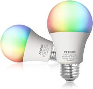 Peteme Smart Alexa Light Bulb 2.4G(not 5G) E26 Multicolor WiFi Light Bulb Work with Alexa,Siri,Echo.Google Home (No Hub Required),A19 60W Equivalent RGB Color Changing Bulb (2 Pack)