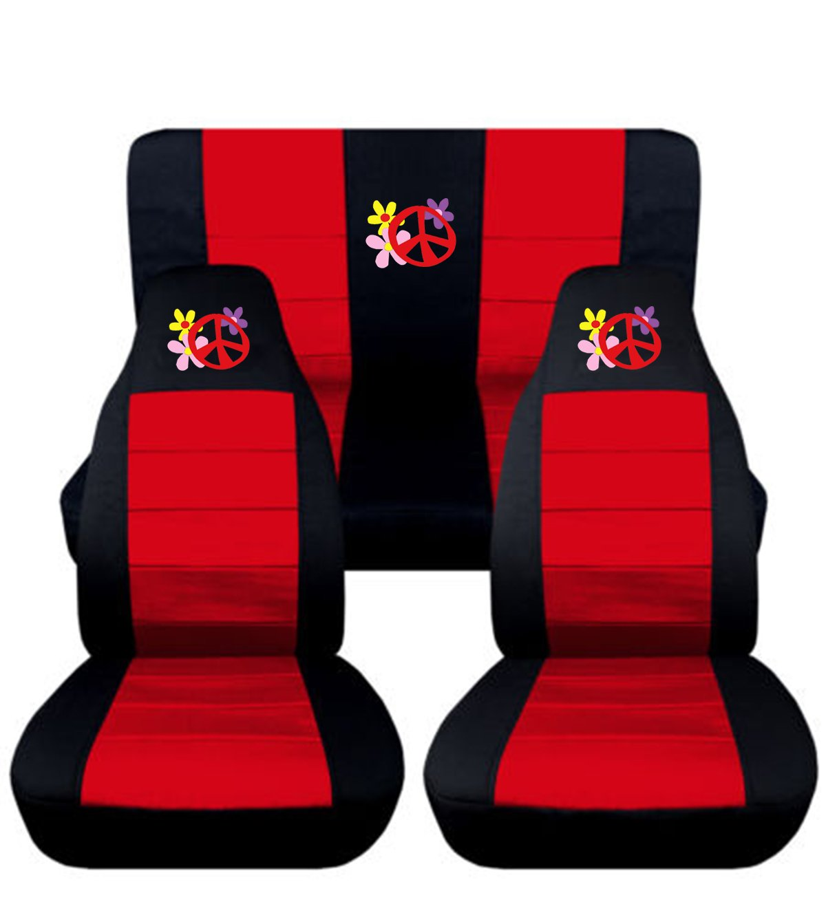 Coupe, Black and Yellow Fits 1998 1999 2000 2001 2002 2003 Volkswagen Beetle Flower Power Seat Covers 12 Color Options