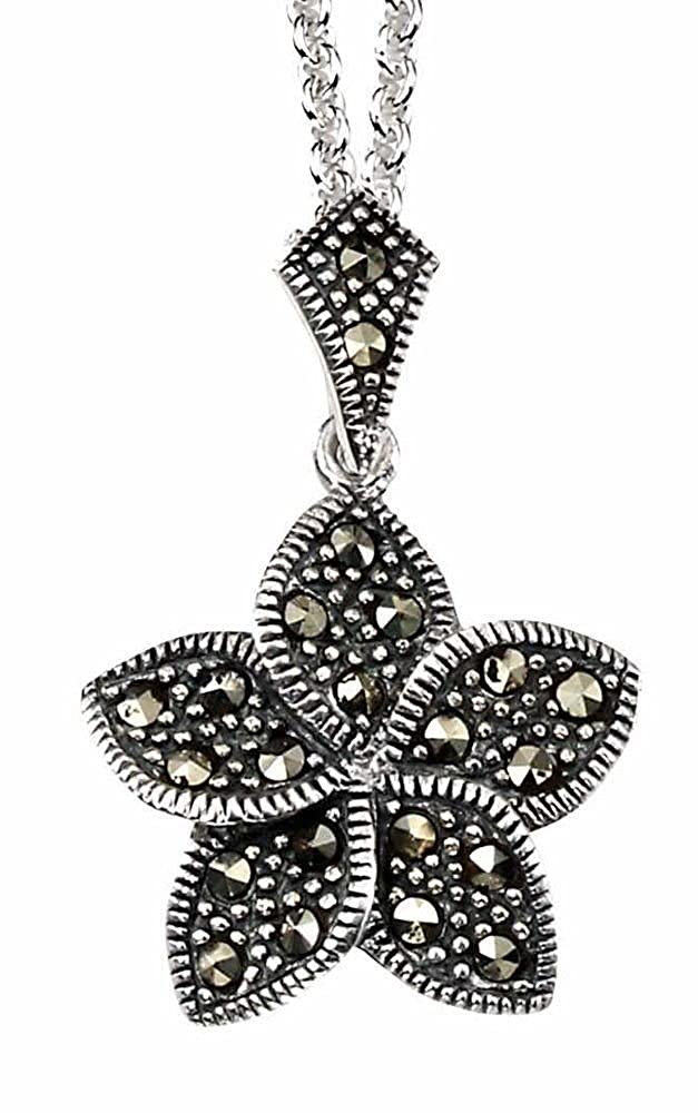 My-jewellery 925 silver Marcasite flower pendant necklace 20 51