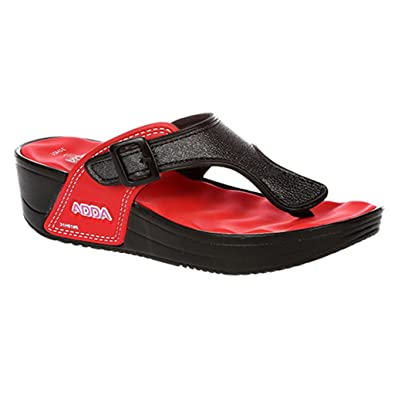 fb20ae8c515 ADDA Women's Flip-Flops Red Synthetic House Slippers: Buy Online at ...