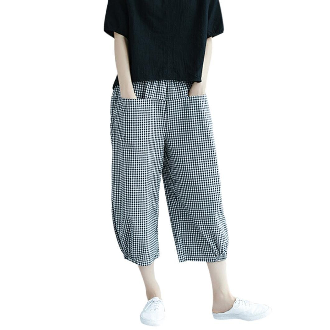 Pervobs Women Pants, Clearance! Women Fashion Loose Black-White Wave Point High Waist Harem Wide Leg Pants Trousers (2XL, Black) by Pervobs Women Pants