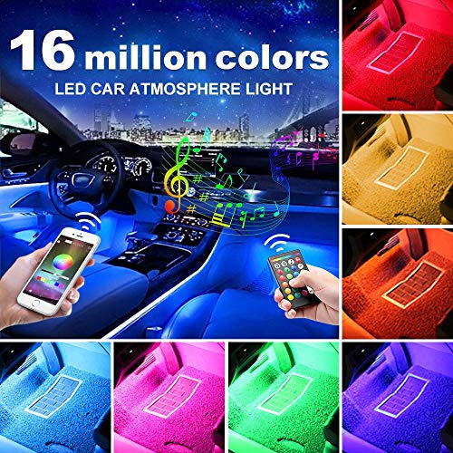 Neon Anti Roll Kit - AUXITO Car LED Strip Lights, Multi-Coloured Music Car Interior Lights Under Dash Lighting Kit, RF Remote with 16 Fix Colors and APP Control, Sound Active Function (DC 12V)