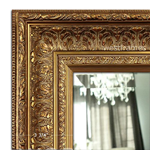 West Frames Elegance Ornate Embossed Wood Framed Wall Mirror 31 x 43 , Antique Gold