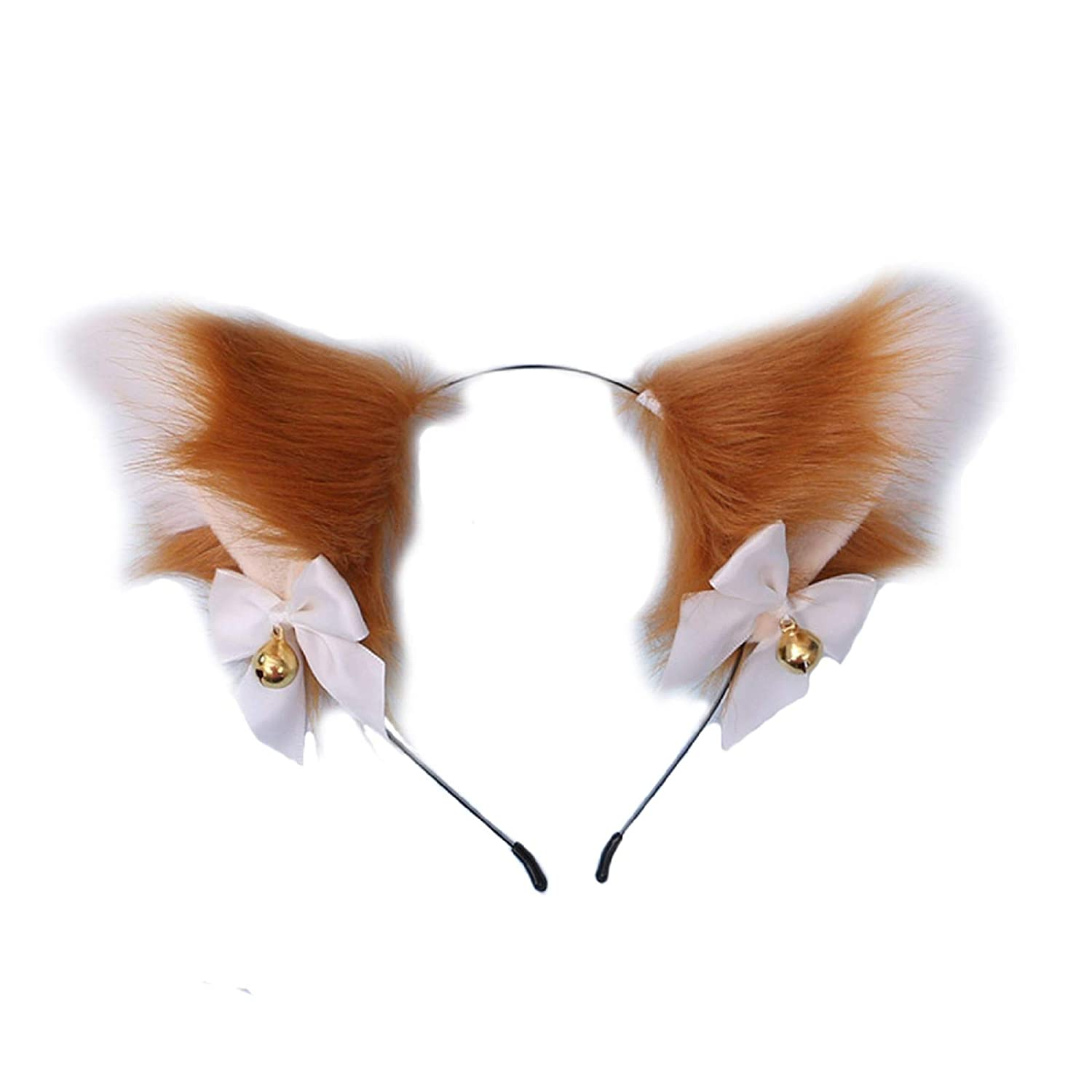 One Size Fits Most Cat Fox or Wolf Animal Ear Headband Heathered Cream Oatmeal and Tan