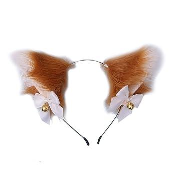 Party Halloween Cat Fox Ears Headband Fur Anime Neko Cosplay Hair Clip Costume