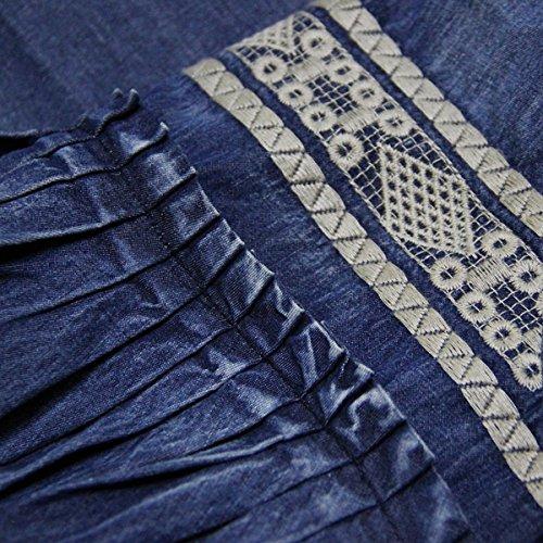 A Dissa Breve line Dal Partito Blu Maniche Estivo Vestito Donne Maxi Lh82071 Abito Denim Upqxdzzw