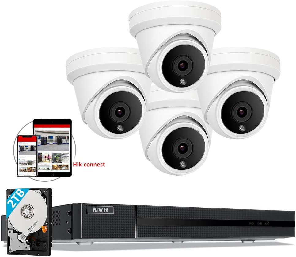 [Audio] Anpviz 5MP 8 Channel IP POE Camera System, 8CH 4K H.265 NVR with 2TB HDD, 4pcs Wired 5MP IP POE Dome Cameras Outdoor Home Security System with Audio, IP66, 98ft, Compatible with Hikvision