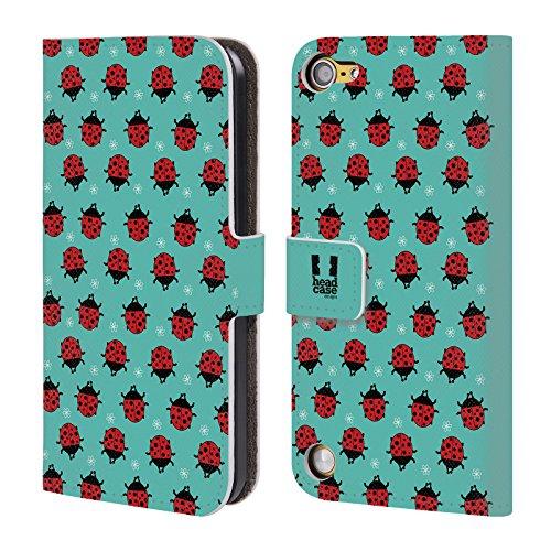Head Case Designs Coccinella Ciano Vita Da Insetti Cover a portafoglio in pelle per iPod Touch 5th Gen / 6th Gen