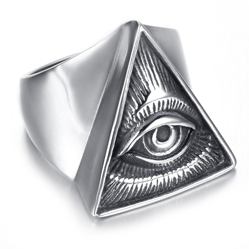 JAJAFOOK Men's Silver Full-Eyed Pyramid Triangle Ring, Stainless steel Gothic Bike Ring (13) by JAJAFOOK (Image #3)