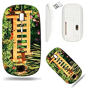 Liili Wireless Mouse White Base Travel 2.4G Wireless Mice with USB Receiver, Click with 1000 DPI for notebook, pc, laptop, computer, mac book Wooden bench in flower garden with evening 29301701