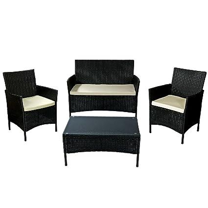 Sunnydaze Adelaide Patio Furniture Set, 4 Piece, Outdoor Wicker Rattan  Construction With Cream
