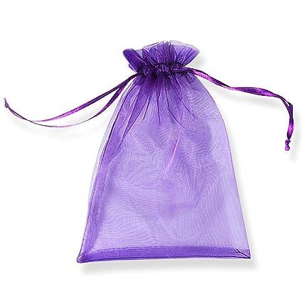 PLECUPE 100 Pcs Bolsa Organza Organza Bags, 20x30cm Transparente Organza Joya Bolsas Fiesta de Boda Bolsas de Regalo - Púrpura#2