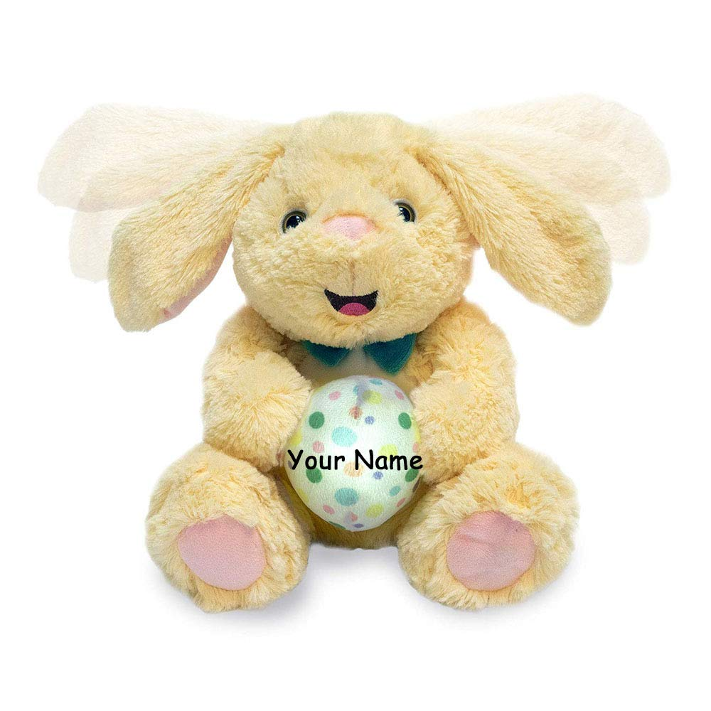 Personalized Animated Flappy Foo Foo Singing Musical Easter Bunny Light Up Plush Stuffed Animal Toy - 10 Inches by Personalized Cuddle Barn