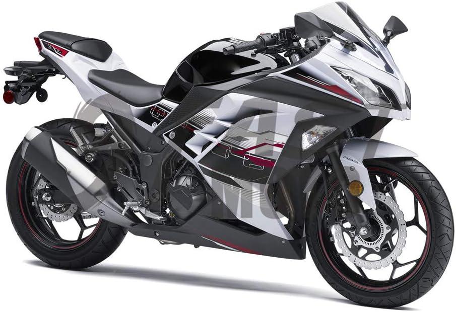 9FastMoto Motorcycle Decals Sticker for kawasaki 2013 2014 EX300R Ninja 300 ZX300R 13 14 EX300R ZX300R Motorbike Racing Fairing Decal (Black & Red)