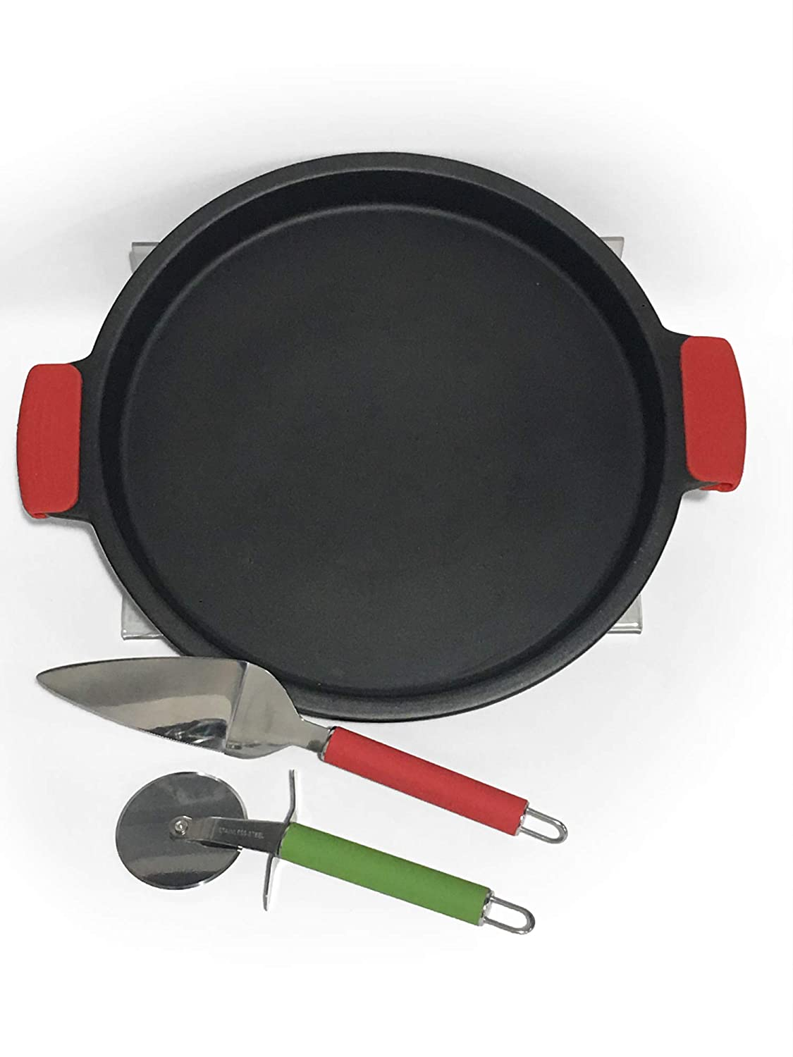 Sassafras Superstone Deep Dish Pizza Stone with Pizza Cutter and Spatula