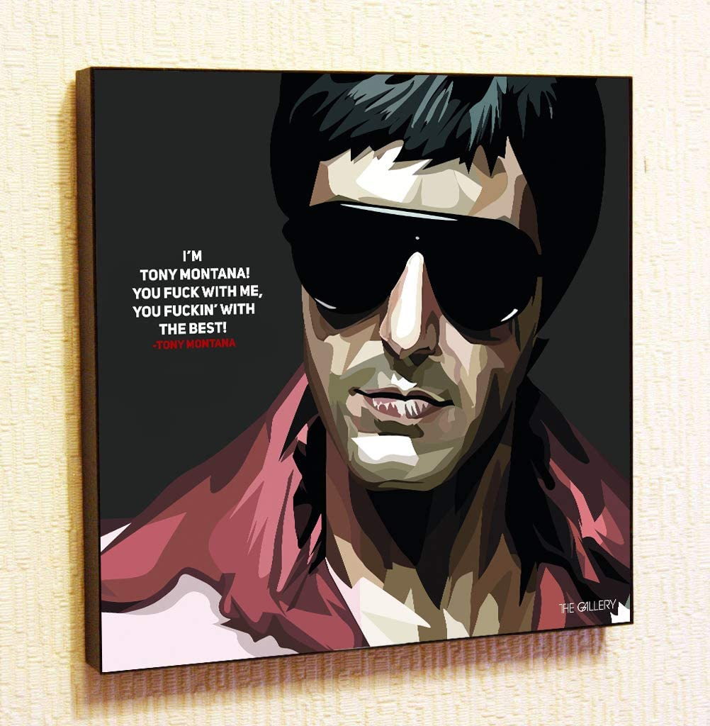 Tony Montana 2 Al Pacino Scarface Framed Poster Pop Art for Decor with Motivational Quotes Printed (20x20 (50.8cm x 50.8cm))