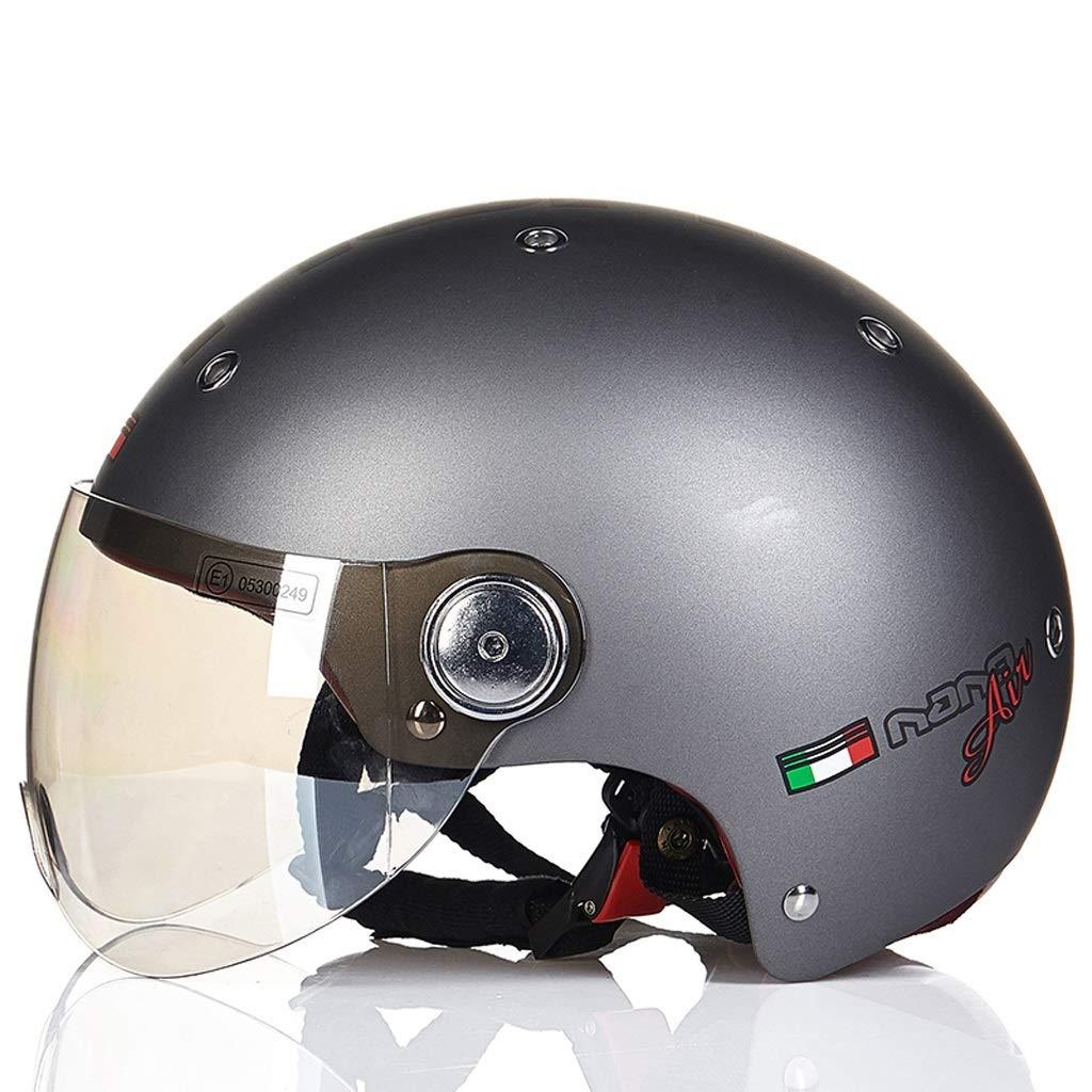 男性と女性のためのオートバイのヘルメット四季ハーフヘルメットカバーカーヘルメットラブリーライト (Color : Gray, Size : XL)