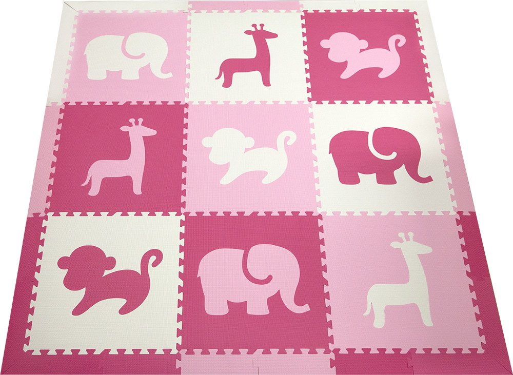 SoftTiles Kids Play Mats- Safari Animals- Premium Interlocking Foam Playmat for Children, Toddlers and Babies 78'' x 78'' (Pink, White, Light Pink) SCSAFPWC