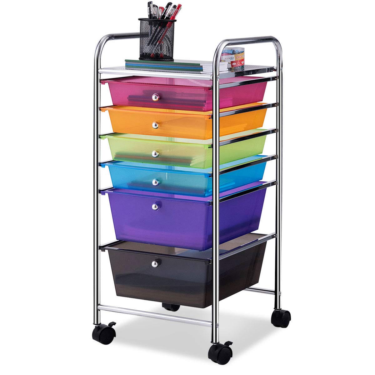 Giantex 6 Drawer Rolling Storage Cart Tools Scrapbook Paper Office School Organizer