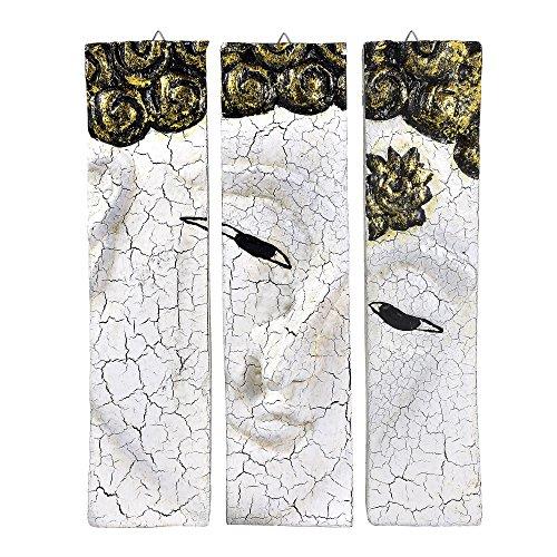 White-Tone Buddha Face Nirvana Spirit 3-Panel Hand Carved Rain Tree Wood Wall Art Relief Panel Meditating Buddhism Peace Zen Wall Sculpture (White)